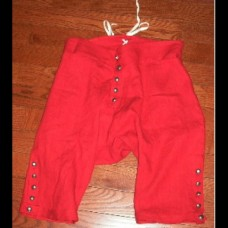 Breeches 18th Century Style Linen - Fly Front Red 35% OFF